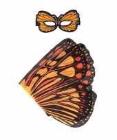 Carnavalskleding dieren verkleedset monarchvlinder oranje helmond