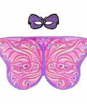 Carnavalskleding dieren verkleedset paar roze vlinder helmond