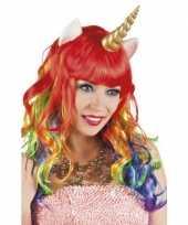 Carnavalskleding eenhoorn regenboog pruik krullen helmond