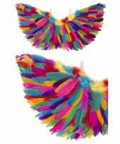 Carnavalskleding engel verkleed vleugels regenboog veren helmond