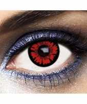 Carnavalskleding feest carnaval kleurlenzen zwart rood een dag helmond