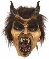 Carnavalskleding feest masker horror duivel goud helmond