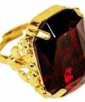 Carnavalskleding feest sinterklaasring verkleedaccessoire goud rode verstelbare ring heren helmond