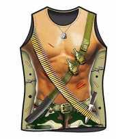 Carnavalskleding funartikel t-shirt leger soldaat helmond