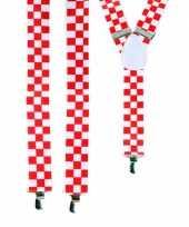 Carnavalskleding geblokte bretels rood wit helmond
