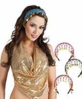 Carnavalskleding gekleurde buikdanseres hoofdband helmond