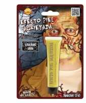 Carnavalskleding gele zombie schmink gebarsten huid effect helmond