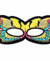 Carnavalskleding gele zwaluwstaart oogmasker een vlinder helmond