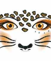 Carnavalskleding gezicht glitter plakkers panter helmond
