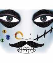 Carnavalskleding gezicht glitter plakkers piraat helmond