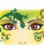 Carnavalskleding gezicht glitter plakkers reptiel helmond