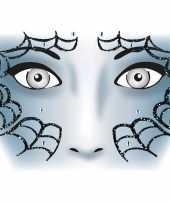 Carnavalskleding gezicht glitter plakkers spinnenweb helmond