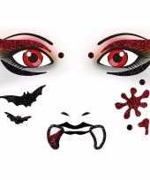 Carnavalskleding gezicht glitter plakkers vampier helmond