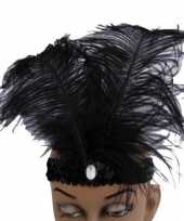 Carnavalskleding glimmende hoofdband zwart helmond