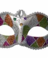 Carnavalskleding glinsterend oogmasker kleur helmond