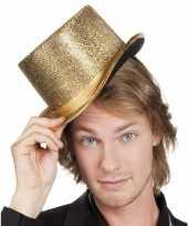 Carnavalskleding glitterende hoge hoed goud helmond