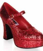 Carnavalskleding glitterschoenen dames rood helmond