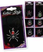 Carnavalskleding gothic spinnen ketting zilver helmond