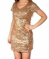 Carnavalskleding gouden glitter pailletten disco jurkje dames helmond