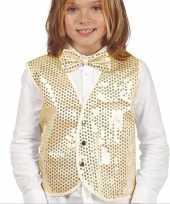 Carnavalskleding gouden verkleed gilet pailletten kinderen helmond