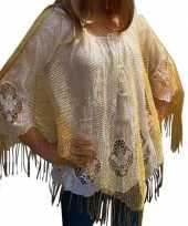 Carnavalskleding gouden visnet poncho omslagdoek stola dames helmond