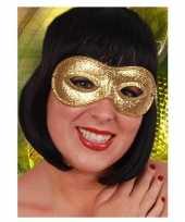 Carnavalskleding goudkleurig oogmasker glitters helmond