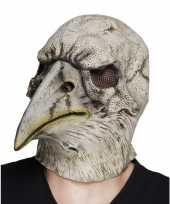 Carnavalskleding grijze dode adelaars vogel masker latex helmond