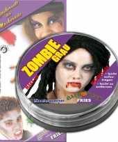Carnavalskleding grijze zombie schmink helmond