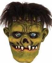 Carnavalskleding groen horror frankenstein monster masker latex helmond