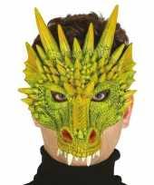 Carnavalskleding groene draak monster masker foam helmond