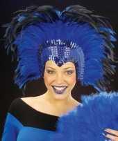 Carnavalskleding grote luxe hoofdtooi veren blauw helmond