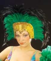 Carnavalskleding grote luxe hoofdtooi veren groen helmond