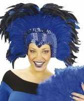 Carnavalskleding grote luxe hoofdtooi veren helmond