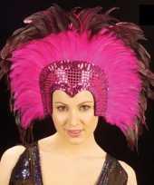 Carnavalskleding grote luxe hoofdtooi veren roze helmond