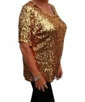 Carnavalskleding grote maten gouden glitter pailletten disco shirt dames xl helmond