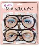 Carnavalskleding grote zwarte brillen ogen helmond