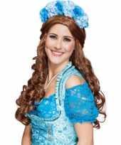 Carnavalskleding haarband blauwe bloemen helmond
