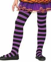 Carnavalskleding halloween paars zwarte heksen panties maillots verkleedaccessoire meisjes helmond