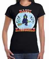 Carnavalskleding happy halloween heks verkleed t-shirt zwart dames helmond