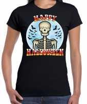 Carnavalskleding happy halloween skelet verkleed t-shirt zwart dames helmond