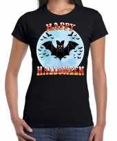 Carnavalskleding happy halloween vleermuis verkleed t-shirt zwart dames helmond
