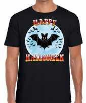 Carnavalskleding happy halloween vleermuis verkleed t-shirt zwart heren helmond