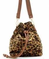 Carnavalskleding hip schoudertasje bruin zwart luipaardprint panterprint dierenprint pu nepleer helm