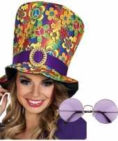 Carnavalskleding hippie verkleedsetje hoed bril helmond