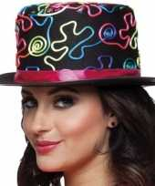 Carnavalskleding hoge feesthoed vrolijke print helmond