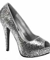 Carnavalskleding hoge zilverkleurige glitter pumps helmond