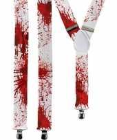 Carnavalskleding horror witte verkleed bretels bloed spetters volwassenen helmond