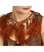 Carnavalskleding indianen ketting bruin veren helmond