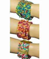 Carnavalskleding indianen kralen armband roze blauw helmond
