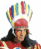 Carnavalskleding indianen tooien gekleurde veren helmond